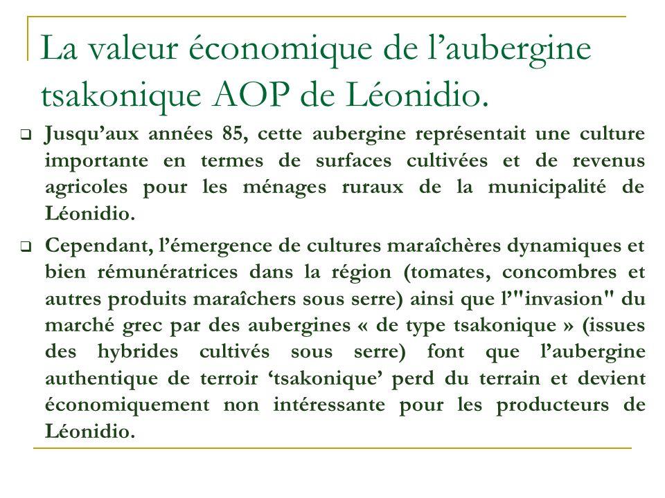 La valeur économique de l'aubergine tsakonique AOP de Léonidio.