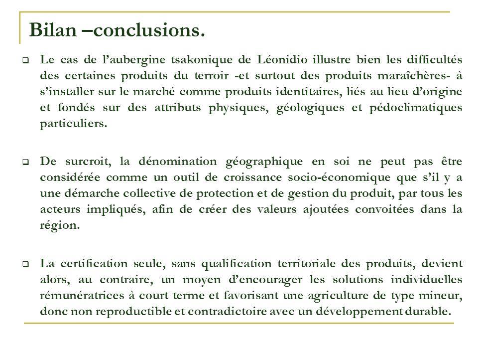 Bilan –conclusions.