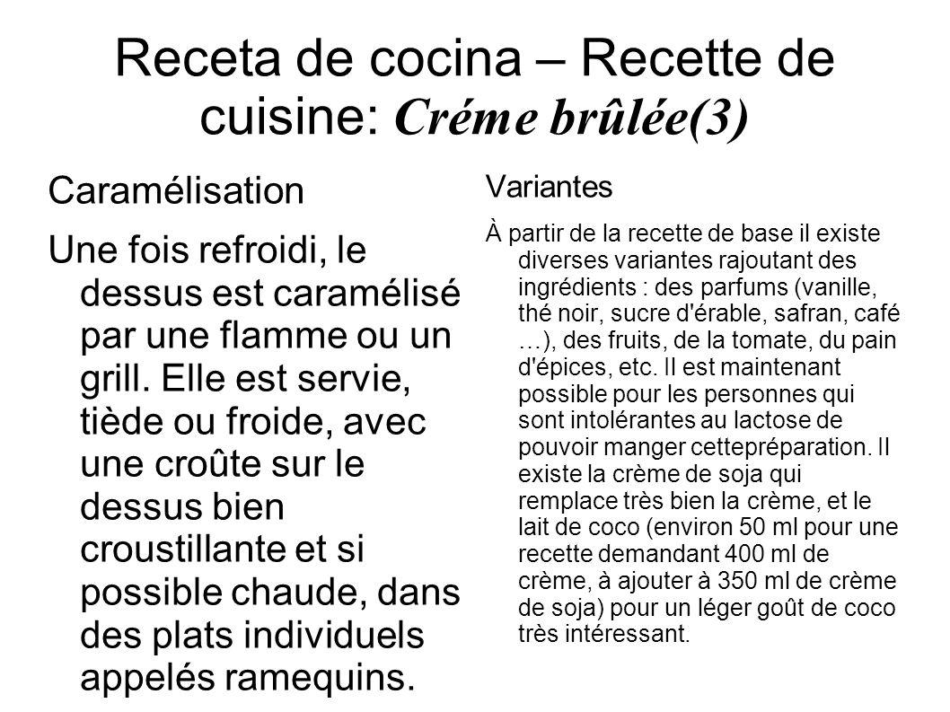 Receta de cocina – Recette de cuisine: Créme brûlée(3)