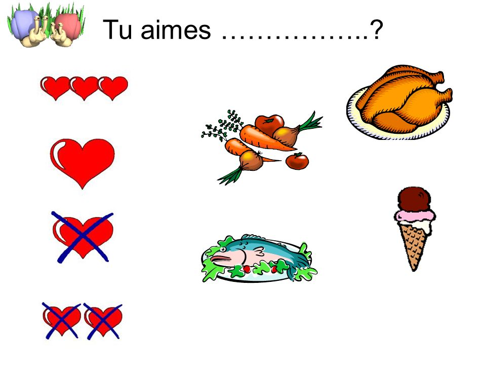 Tu aimes …………….. 1 min – whole class review of opinions in new context of food.
