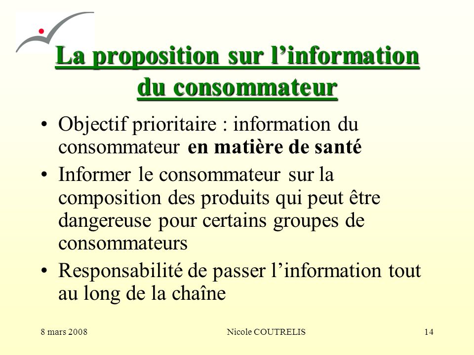 La proposition sur l'information du consommateur