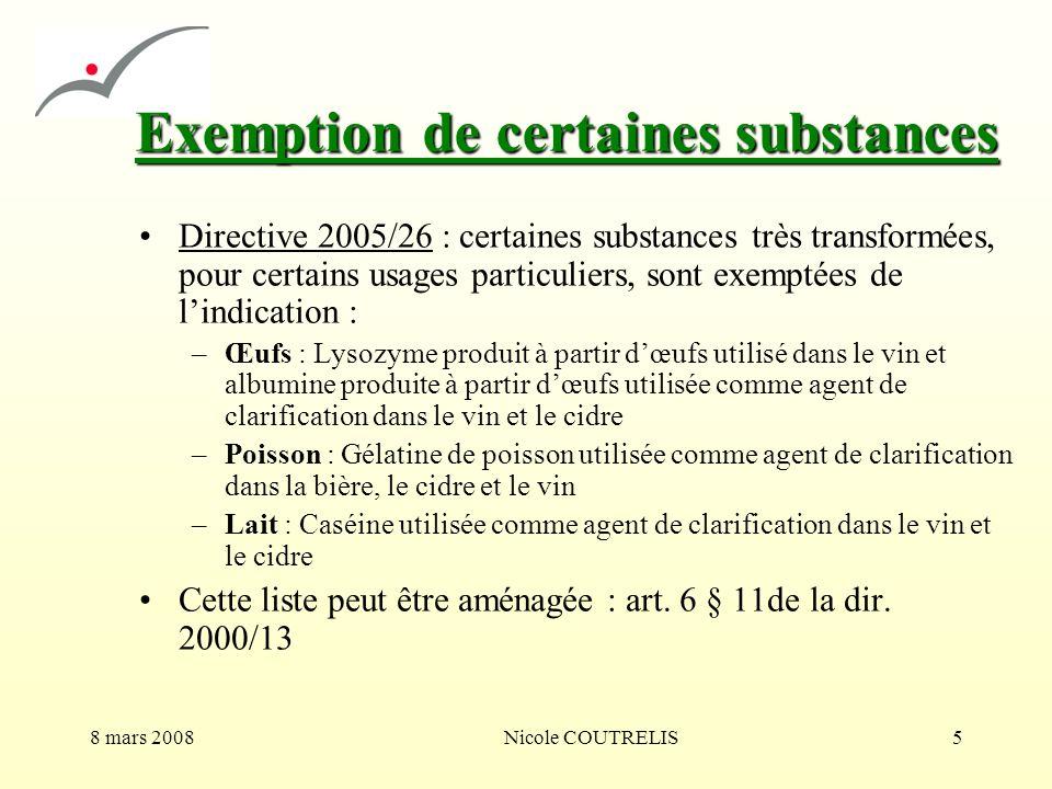 Exemption de certaines substances