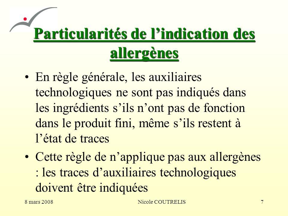 Particularités de l'indication des allergènes