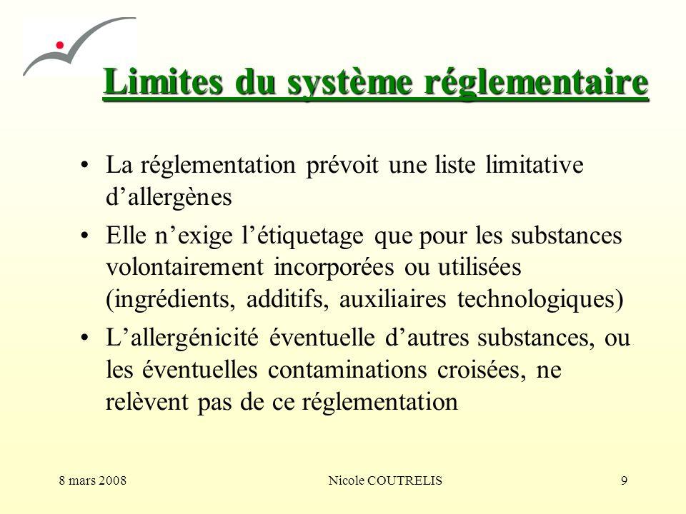 Limites du système réglementaire