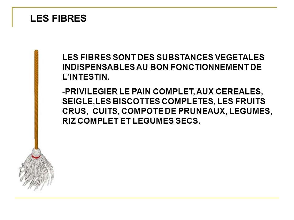 LES FIBRES LES FIBRES SONT DES SUBSTANCES VEGETALES INDISPENSABLES AU BON FONCTIONNEMENT DE L'INTESTIN.
