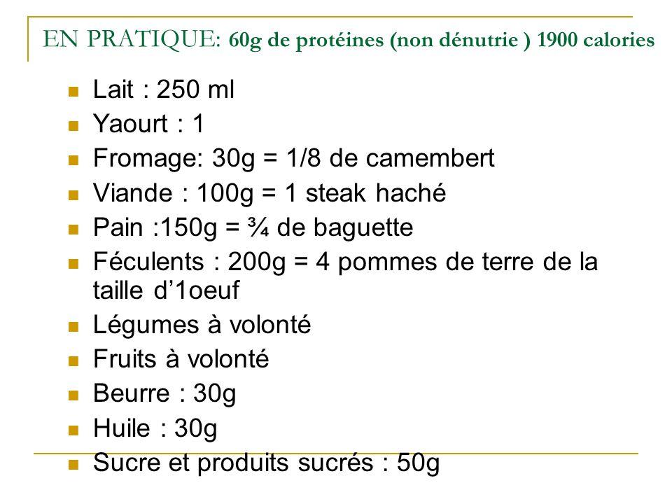 EN PRATIQUE: 60g de protéines (non dénutrie ) 1900 calories
