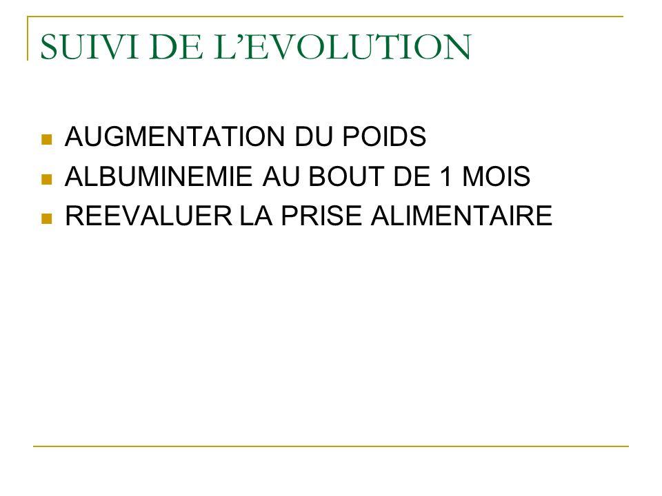 SUIVI DE L'EVOLUTION AUGMENTATION DU POIDS