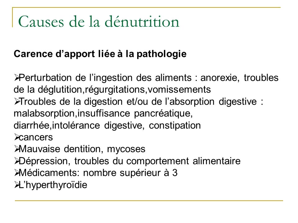 Causes de la dénutrition