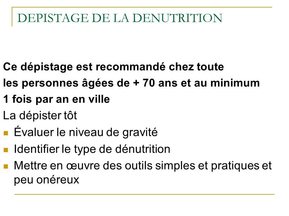 DEPISTAGE DE LA DENUTRITION