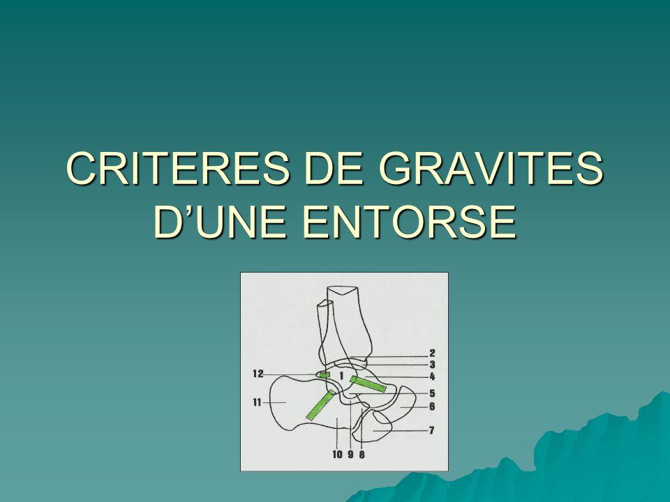 CRITERES DE GRAVITES D'UNE ENTORSE