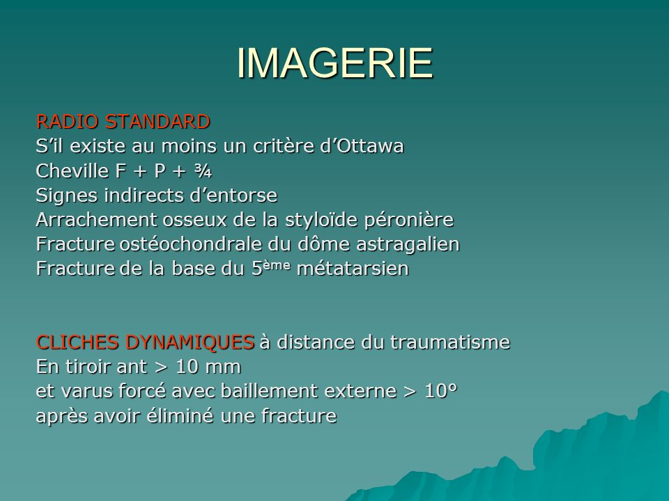 IMAGERIE RADIO STANDARD S'il existe au moins un critère d'Ottawa