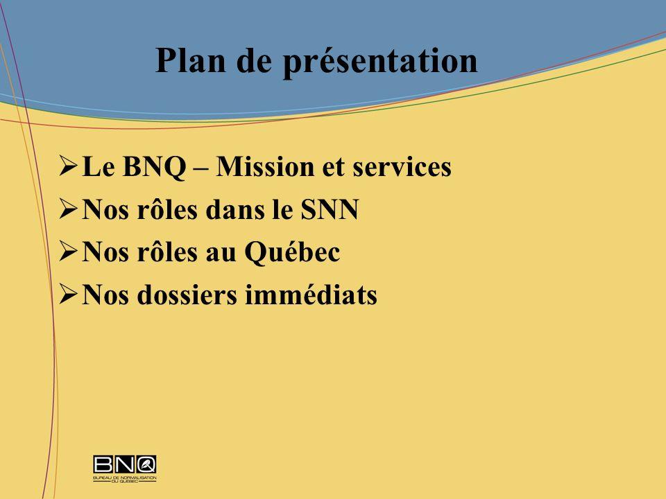 Plan de présentation Le BNQ – Mission et services