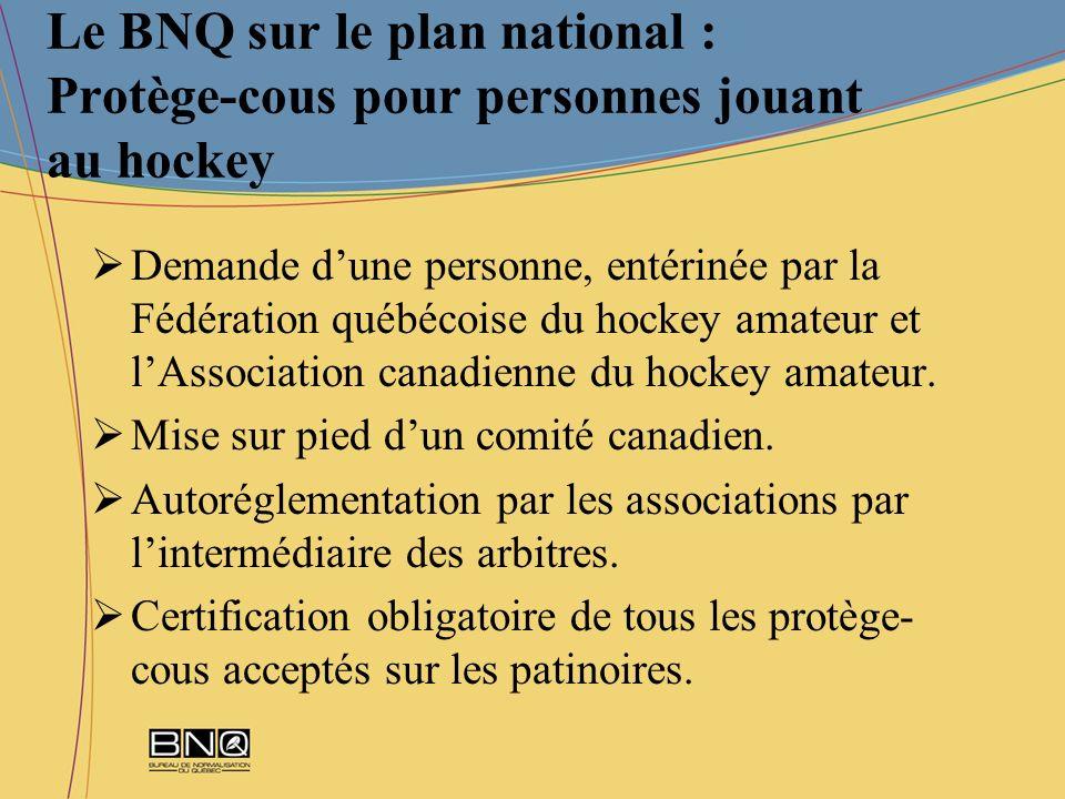 Le BNQ sur le plan national : Protège-cous pour personnes jouant au hockey
