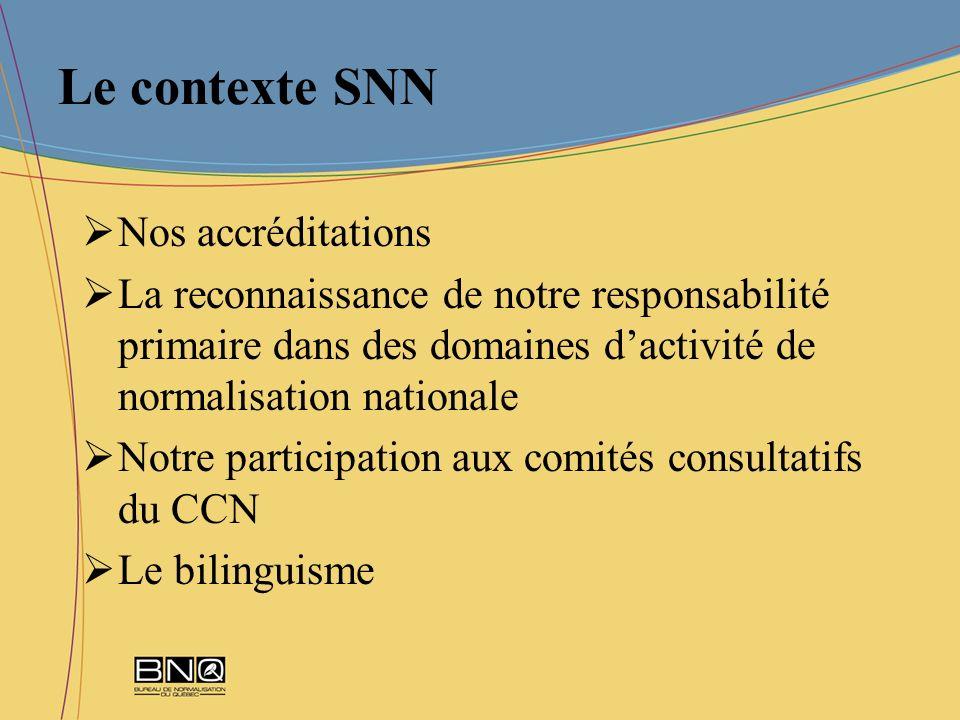 Le contexte SNN Nos accréditations