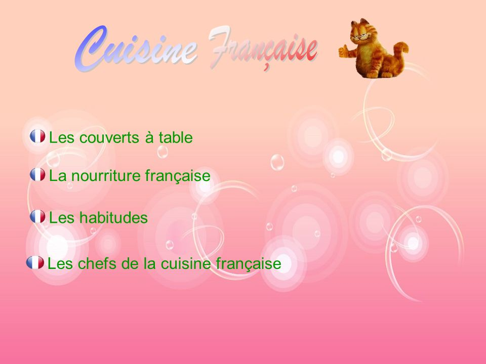 Cuisine Française Les couverts à table La nourriture française