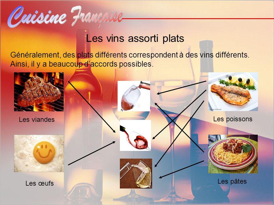 Les vins assorti plats Généralement, des plats différents correspondent à des vins différents. Ainsi, il y a beaucoup d'accords possibles.