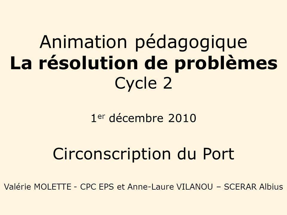 Animation pédagogique La résolution de problèmes Cycle 2 1er décembre 2010 Circonscription du Port Valérie MOLETTE - CPC EPS et Anne-Laure VILANOU – SCERAR Albius