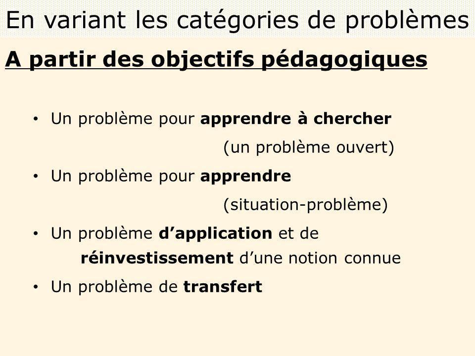 En variant les catégories de problèmes