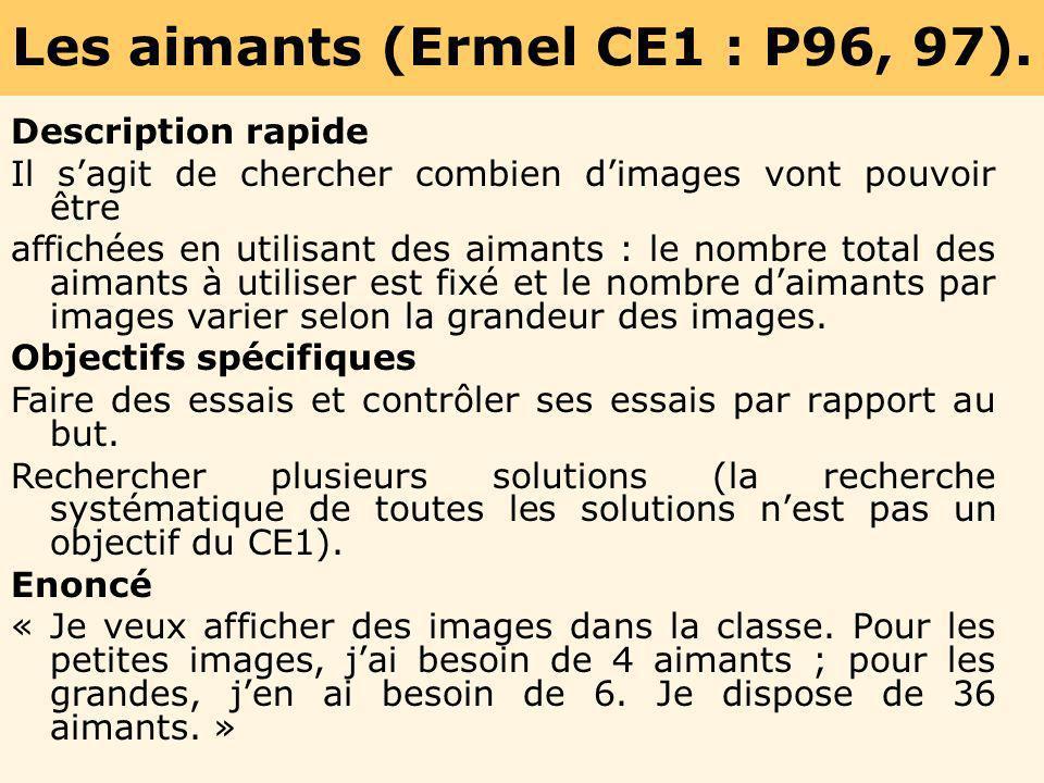 Les aimants (Ermel CE1 : P96, 97).