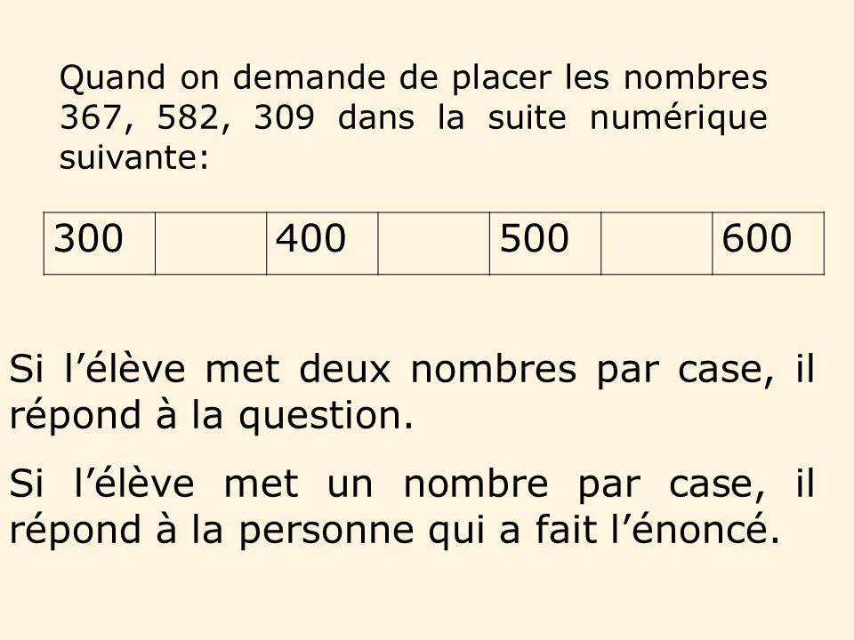 Si l'élève met deux nombres par case, il répond à la question.