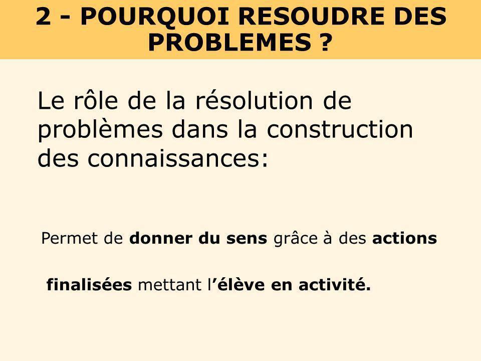2 - POURQUOI RESOUDRE DES PROBLEMES