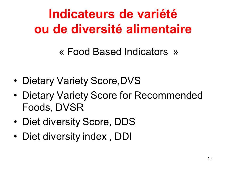 Indicateurs de variété ou de diversité alimentaire