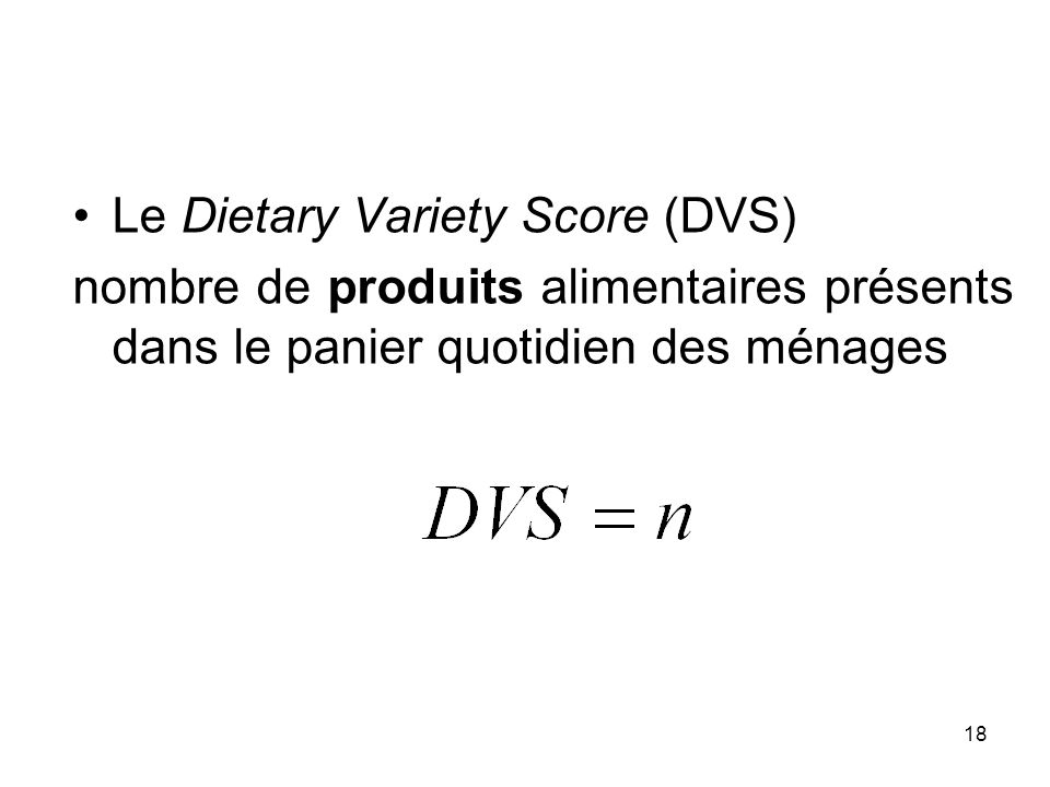 Le Dietary Variety Score (DVS)