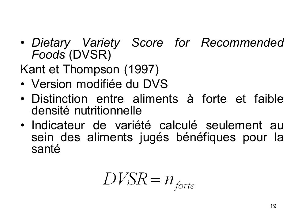 Dietary Variety Score for Recommended Foods (DVSR)