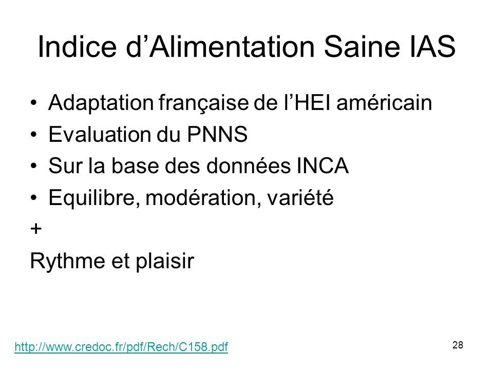 Indice d'Alimentation Saine IAS