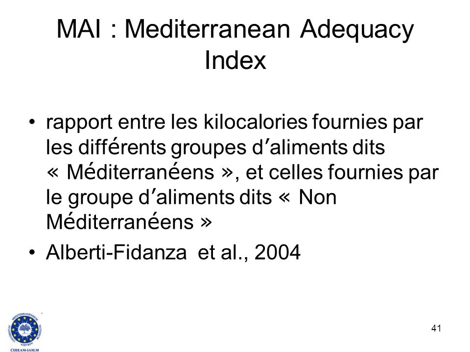 MAI : Mediterranean Adequacy Index