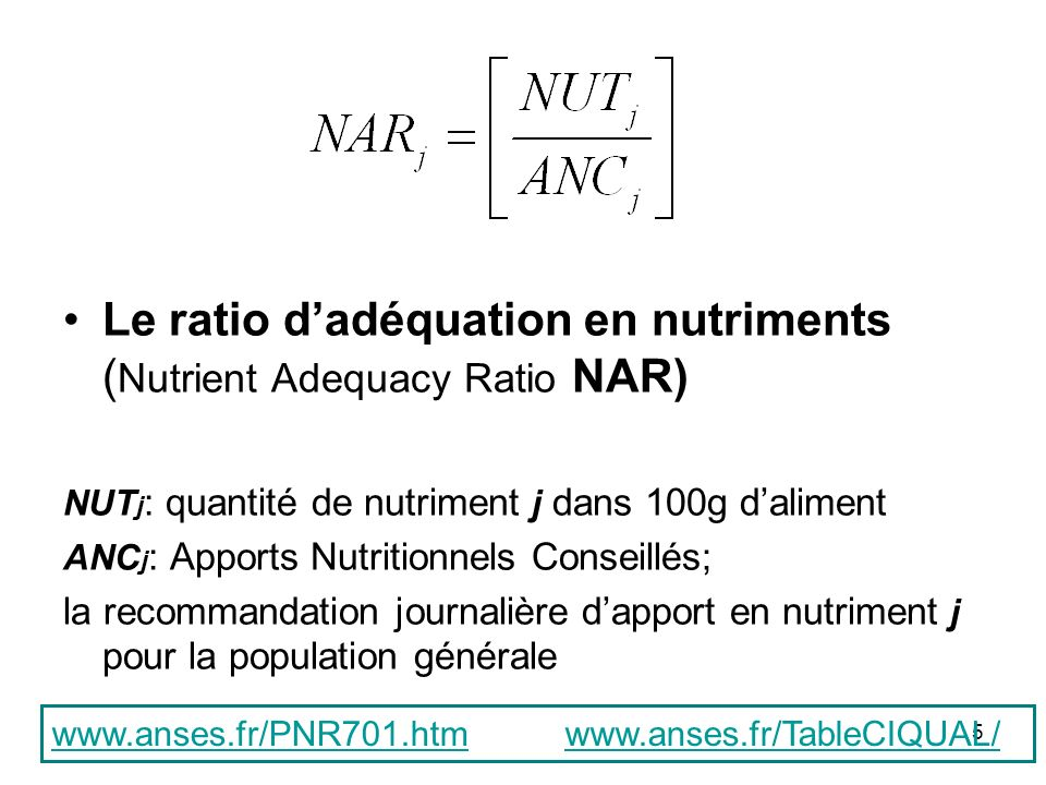Le ratio d'adéquation en nutriments (Nutrient Adequacy Ratio NAR)
