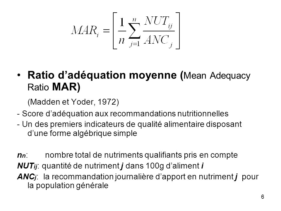 Ratio d'adéquation moyenne (Mean Adequacy Ratio MAR)
