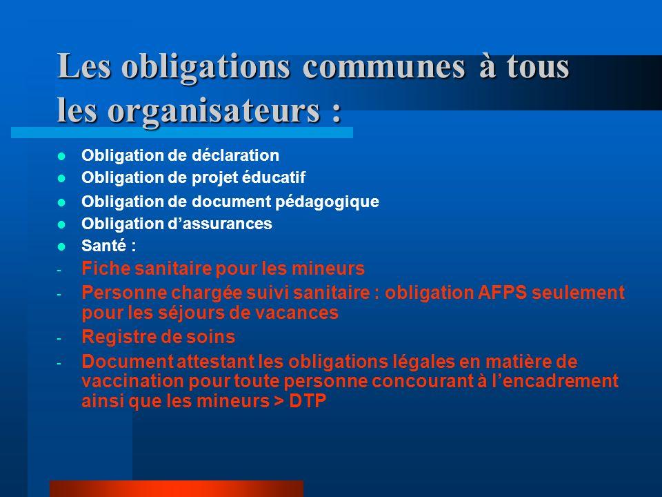 Les obligations communes à tous les organisateurs :