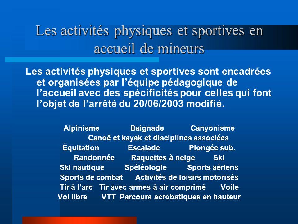 Les activités physiques et sportives en accueil de mineurs