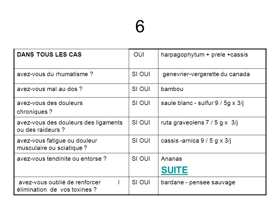 6 SUITE DANS TOUS LES CAS OUI harpagophytum + prele +cassis