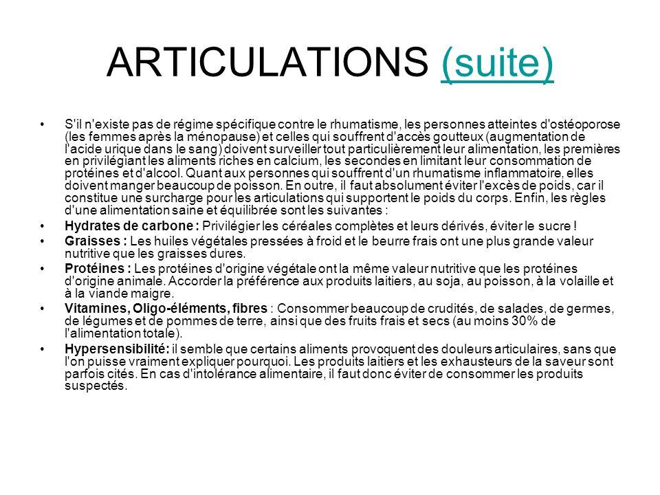 ARTICULATIONS (suite)