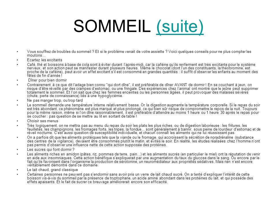 SOMMEIL (suite)