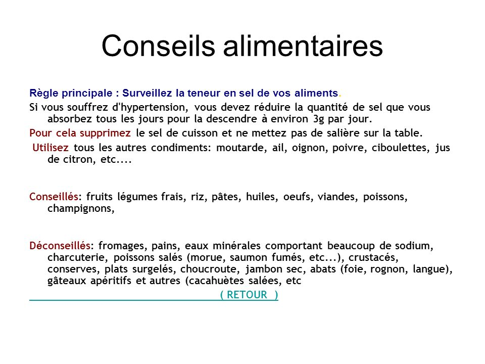 Conseils alimentaires