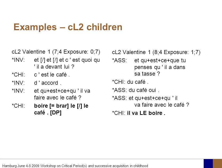 Examples – cL2 children cL2 Valentine 1 (7;4 Exposure: 0;7)