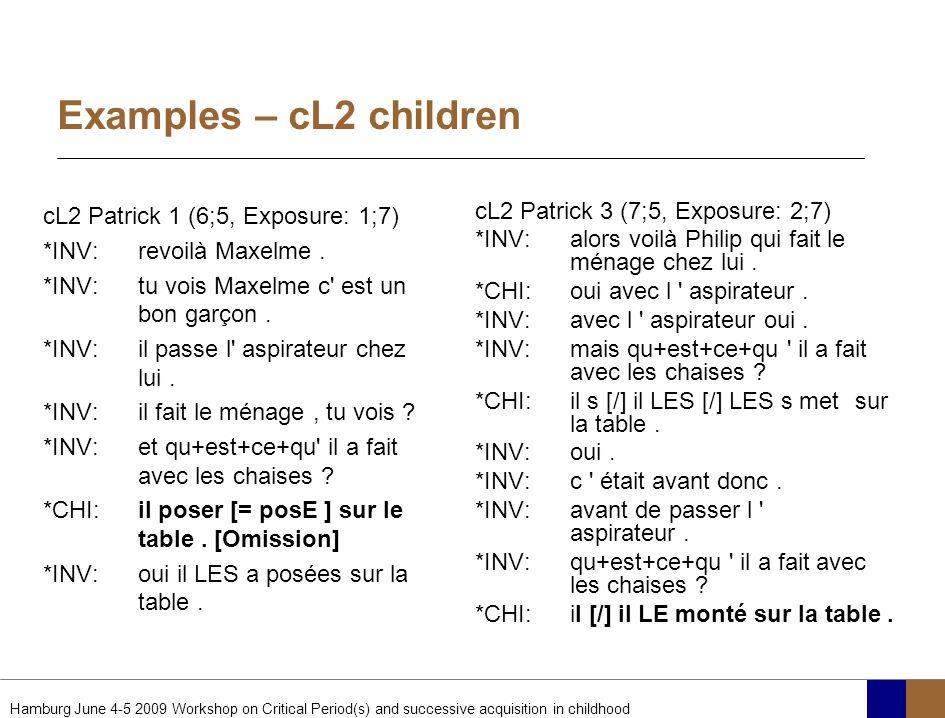 Examples – cL2 children cL2 Patrick 1 (6;5, Exposure: 1;7)