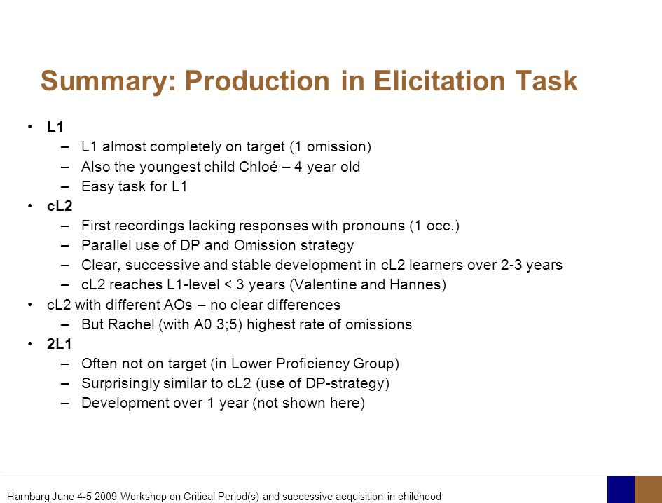 Summary: Production in Elicitation Task