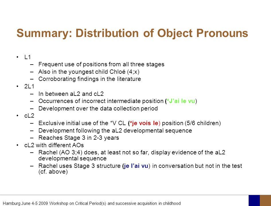 Summary: Distribution of Object Pronouns