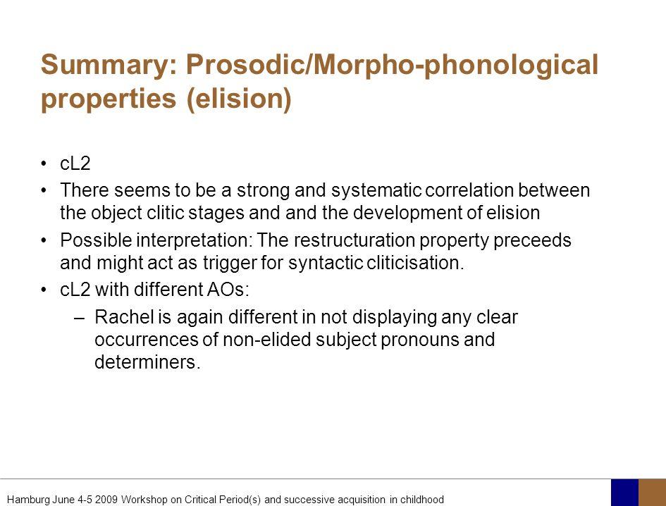 Summary: Prosodic/Morpho-phonological properties (elision)