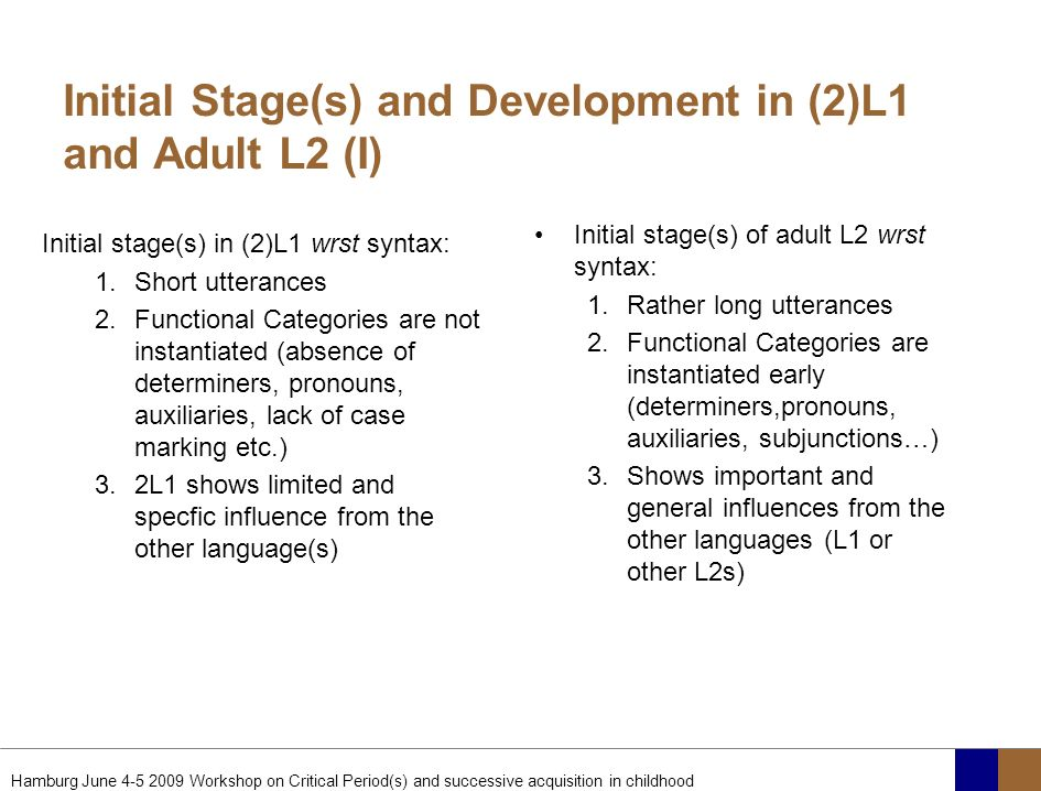 Initial Stage(s) and Development in (2)L1 and Adult L2 (I)