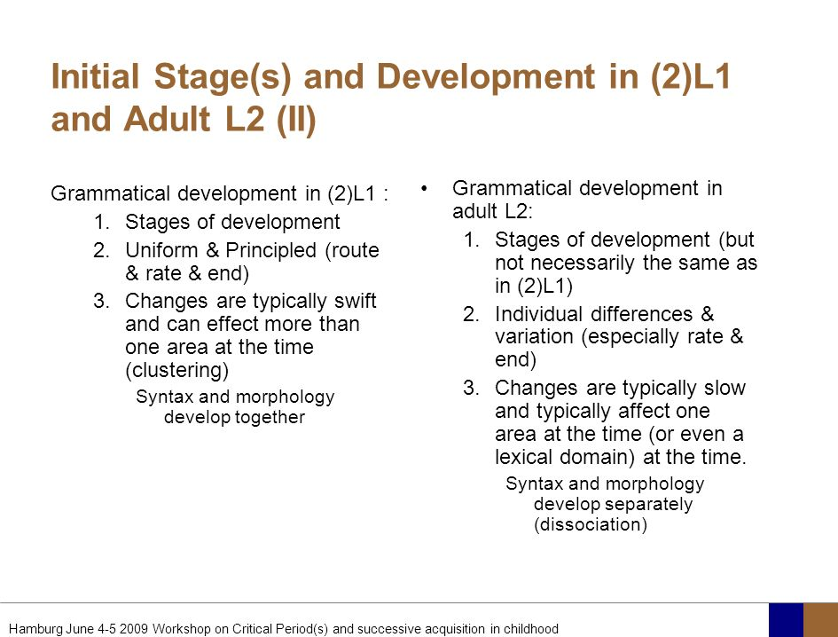 Initial Stage(s) and Development in (2)L1 and Adult L2 (II)