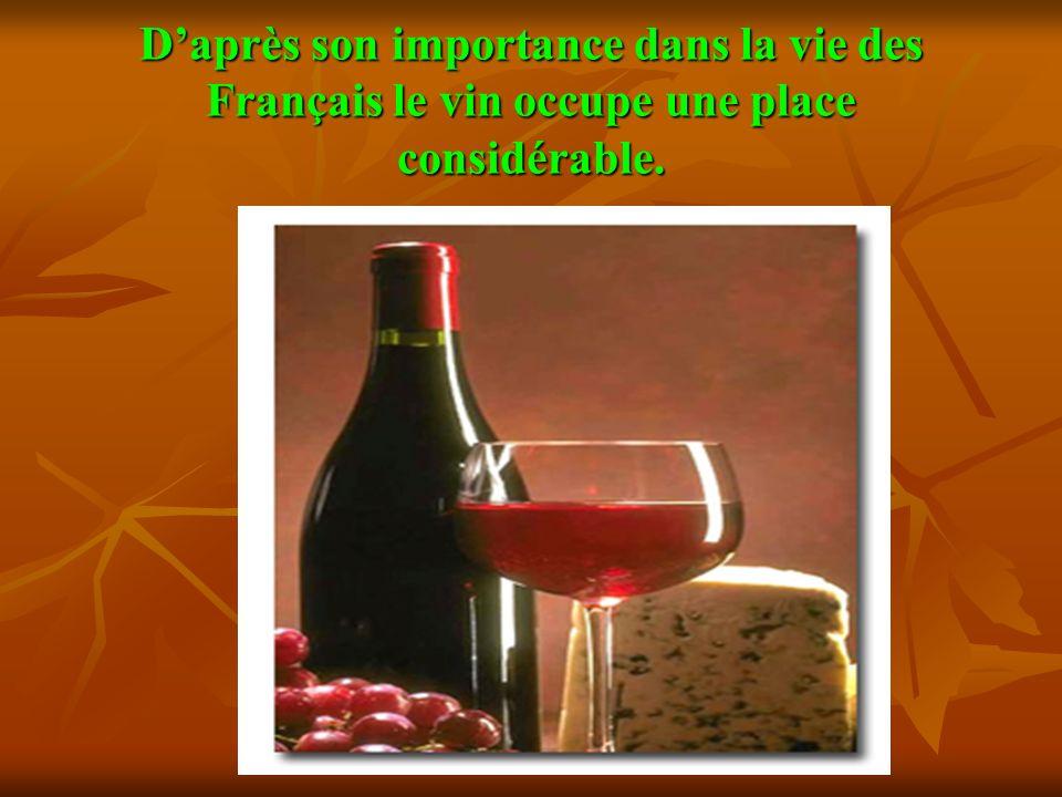 D'après son importance dans la vie des Français le vin occupe une place considérable.
