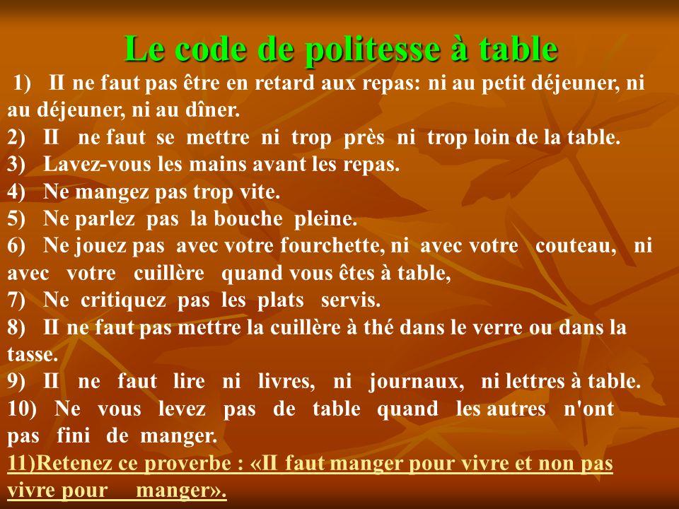 Le code de politesse à table