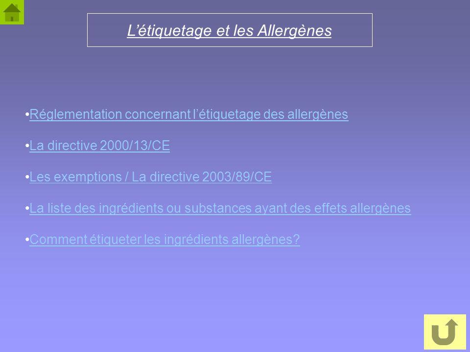 L'étiquetage et les Allergènes