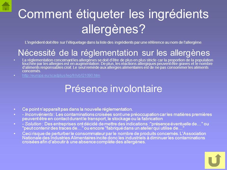 Comment étiqueter les ingrédients allergènes