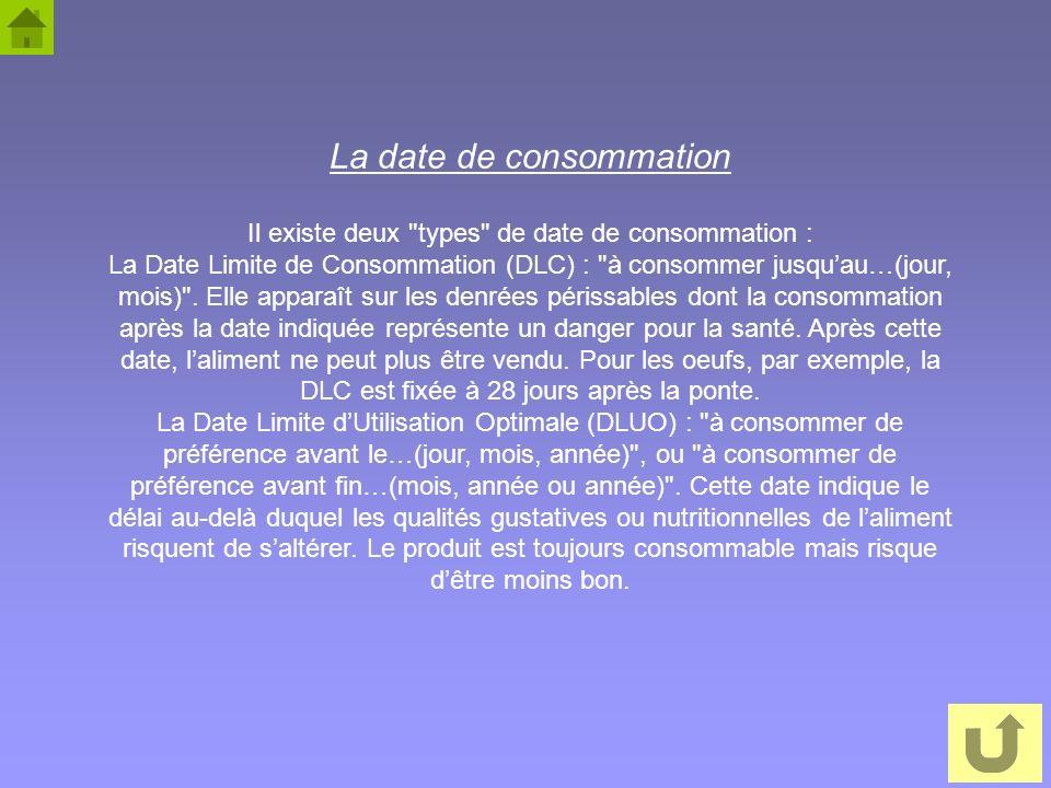 Il existe deux types de date de consommation :